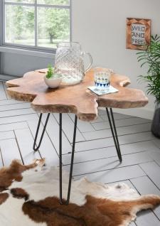 Root Couchtisch mit Metall Gestell, Platte Teak Holz Natur