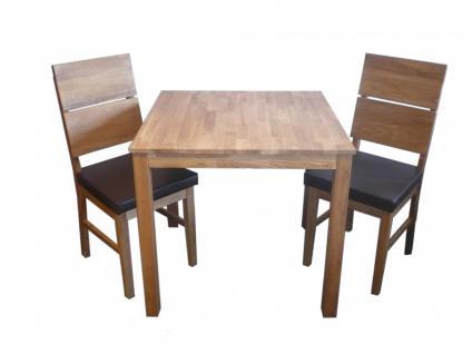 Tischgruppe Set Tisch + 2 Stühle aus Eiche massiv geölt PU Sitzpolster braun