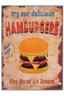 Metallschild Hamburgers Mehrfarbig