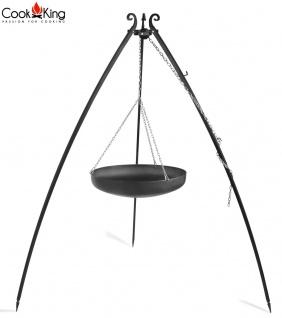 Schwenkgrill mit Wok am Dreibein 200 cm Rohstahl Durchmesser 70 cm