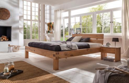 Bett Doppelbett Balkenbett Wildeiche massiv geölt Schlafzimmer versch. Größen