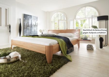 schlichtes Bett Doppelbett massive Kernbuche Überlänge möglich runde Beine - Vorschau 1