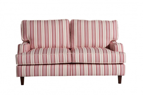 Pete Sofa 2-Sitzer Flachgewebe Rot Multicolor Buche Nussbaumfarben
