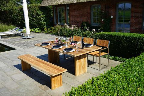 Gartengruppe Gartengarnitur Teak massiv 5tlg Baumkante Edelstahl Gartenmöbel FSC