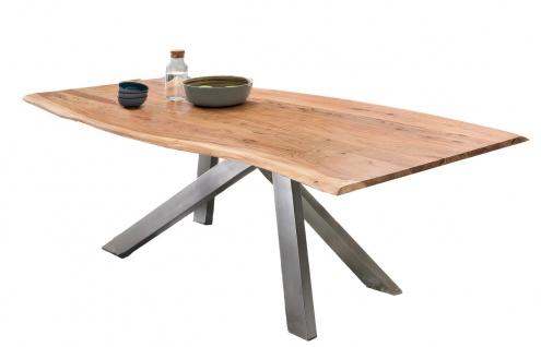 TABLES&Co Tisch 200x100 Akazie Natur Metall Silber