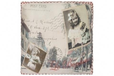 Kissen Bonheur Postcard Baumwolle&Polyester Bunt