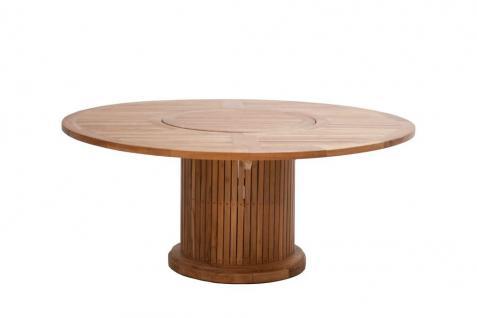 Gartentisch Tisch Rund 160 Cm Garten Dining Tisch Esstisch Drehteller Teak  FSC
