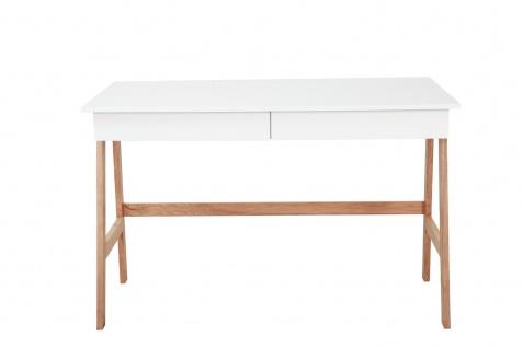 Schreibtisch Büro MDF und Holz Weiß
