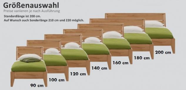 Bett Jugendbett Einzelbett Überlänge Kernbuche massiv geölt Traumbett - Vorschau 4