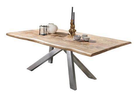 TABLES&Co Tisch 180x90 Mangoholz Natur Metall Silber