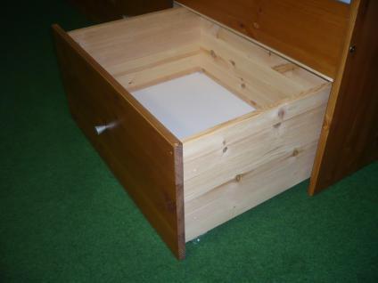 Bett mit Nachtkommode Set Einzelbett Schubladen Kiefer massiv honig lackiert - Vorschau 4