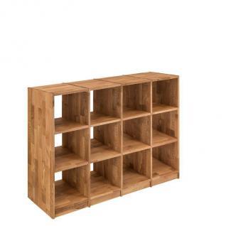 Regal Bücherregal Standregal 12 Fächer Büroregal Wildeiche massiv Aufbewahrung - Vorschau 1