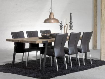 Tisch Esstisch Esszimmertisch Eiche Wildeiche massiv natur geölt Eisen schwarz - Vorschau 5