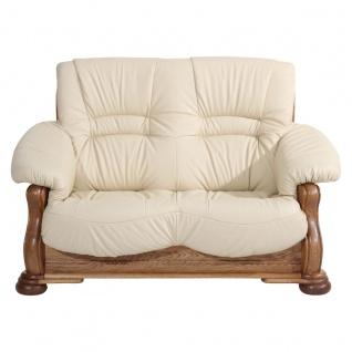 Tennessee Sofa 2-Sitzer Echtleder Beige Eiche rustikal