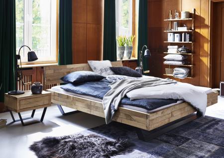 Bett Doppelbett Massivholzbett Holzbett Metall Kufen Eiche massiv versch. Größen