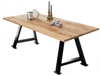 TABLES&Co Tisch 240x100 Wildeiche Natur Metall Schwarz