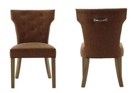 Polsterstuhl 2er Set Stühle Esszimmerstuhl Leder cognac Vintage Metallgriff