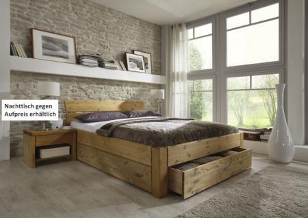 Schubkastenbett Schublade im Fußteil Doppelbett Kiefer massiv gelaugt geölt