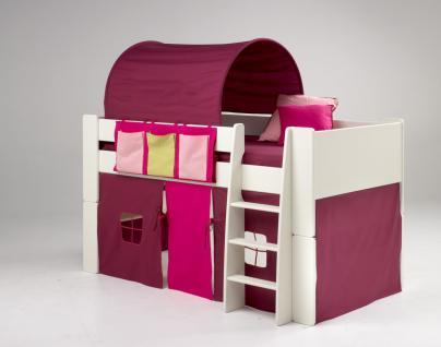 Kinderbett Hochbett Bett Tunnel Vorhang Lila Pink MDF weiß lackiert Kinderzimmer