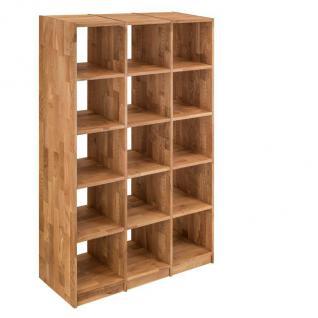 Regal Bücherregal Standregal 15 Fächer Büroregal Wildeiche massiv Aufbewahrung