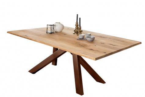 TABLES&Co Tisch 200x100 Wildeiche Natur Metallgestell Braun
