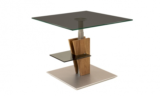 Couchtisch Beistelltisch Glas, Holz und Metall 70x70 cm
