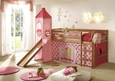Hochbett Kinderbett Bett Etagenbett Rutsche Turm Vorhang Buche Kinderzimmer