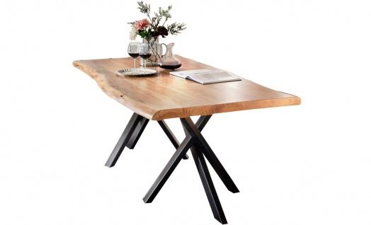 TISCHE&BÄNKE Tisch 220x100 Akazie Stahl Natur Antikschwarz