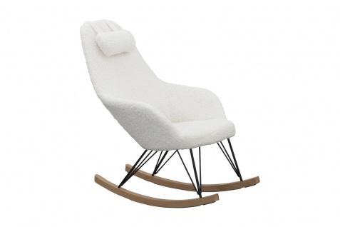 Schaukelstuhl Holz, Metall und 100 % Polyester Weiß
