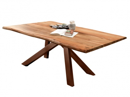 TABLES&Co Tisch 180x100 Akazie Natur Metallgestell Braun
