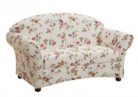 Sofa Couch 2-Sitzer Landhaus weiß floral Blumen Muster romantisch Rücken echt
