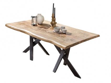 TABLES&Co Tisch 240x100 Mangoholz Natur Metall Schwarz