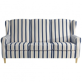 Lorris Sofa 3-SitzerFlachgewebe Blau Buche Natur