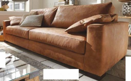 Sofa 2 1/2 Sitz Ledersofa Couch walnuss Leder Anilinleder naturbelassen gewachst - Vorschau 2