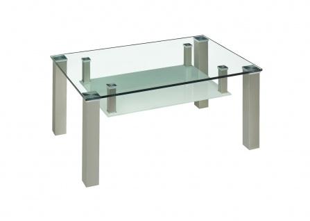 Couchtisch Beistelltisch Glas und Metall 65x105 cm