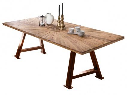 TABLES&Co Tisch 220x100 Balkeneiche Natur Metall Braun