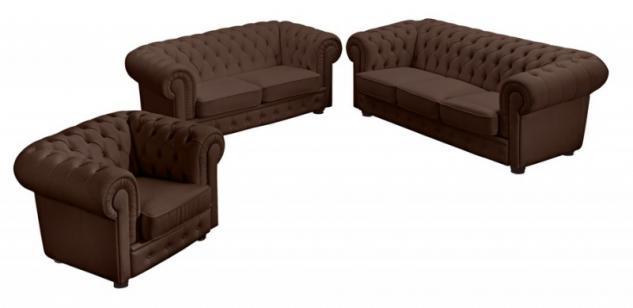 Garnitur Couchgarnitur 3tlg Sofa Sessel Leder oder Kunstleder braun weiß schwarz