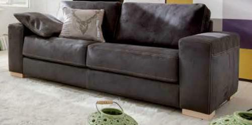 Leder-Garnitur Sofa Couch 2, 5 Sitzer Leder schwarz Longchair Kontrastnaht