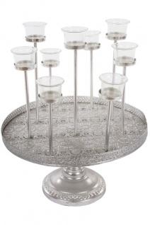 Metalltablett Kuki für Teelichter mit Gläsern Silber