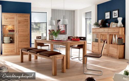 Freischwinger Stuhl Set Stühle Ledersitz Echtholzfunier Eiche geölt gepolstert - Vorschau 4