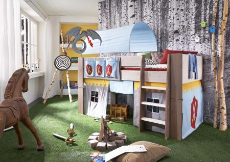 hochbett kinderbett ritter tunnel vorhang kinderzimmer kiefer massiv kaufen bei saku system. Black Bedroom Furniture Sets. Home Design Ideas