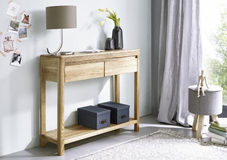 Beistelltisch Wandtisch Konsolentisch vollmassiv MONTIERT Wildeiche geölt Tisch - Vorschau 2