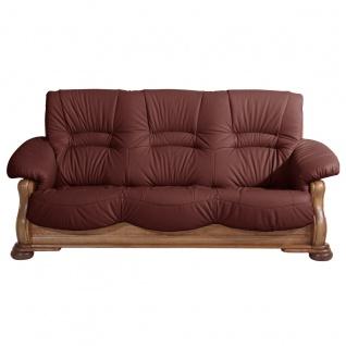 Tennessee Sofa 3-Sitzer Echtleder Rot Eiche rustikal