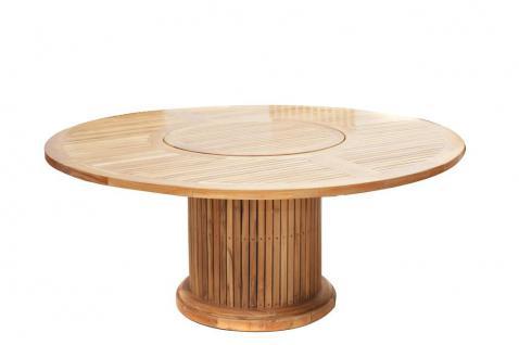 Gartentisch Tisch rund 200 cm Garten Dining-Tisch Esstisch Drehteller Teak FSC