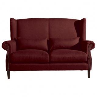 Flora Sofa 2-Sitzer (2-geteilt) Flachgewebe Rot Buche Nussbaumfarben