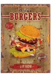 Holzschild Burgers MDF Mehrfarbig