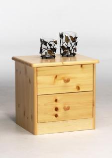 Nachttisch Nachtkommode 2 Schubladen Kommode Kiefer massiv natur lackiert