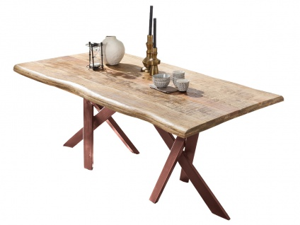 TABLES&CO Tisch 220x100 Mango Natur Metall Braun