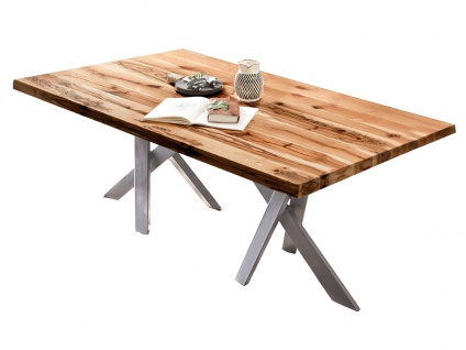 TABLES&CO Tisch 220x100 Balkeneiche Natur Metall Silber