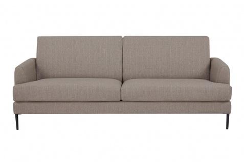 Sofa 3-Sitzer Metall Schwarz Strukturstoff Hellbraun